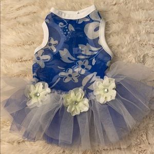 Blue and White Floral Dog Dress